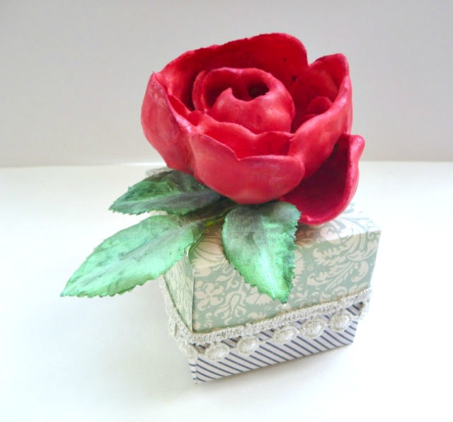 Red Rose Painted Plaster Dipped Flower Gift Box by Dana Tatar