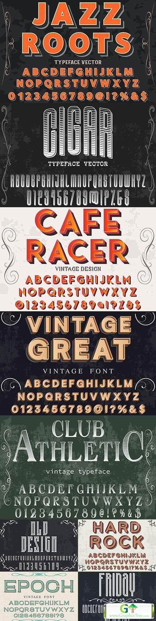Vintage font effect text with alphabet illustration design