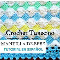 Cobija bebe punto tunecino - crochet