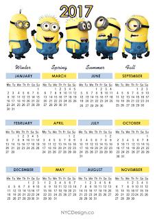 Calendario 2017 de los Minions para Imprimir Gratis.
