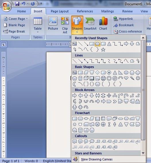 Cara Membuat Shape Dan Menambahkan Text Pada Shape Di Ms Word Tutorial Ms Word Tutorial Komputer