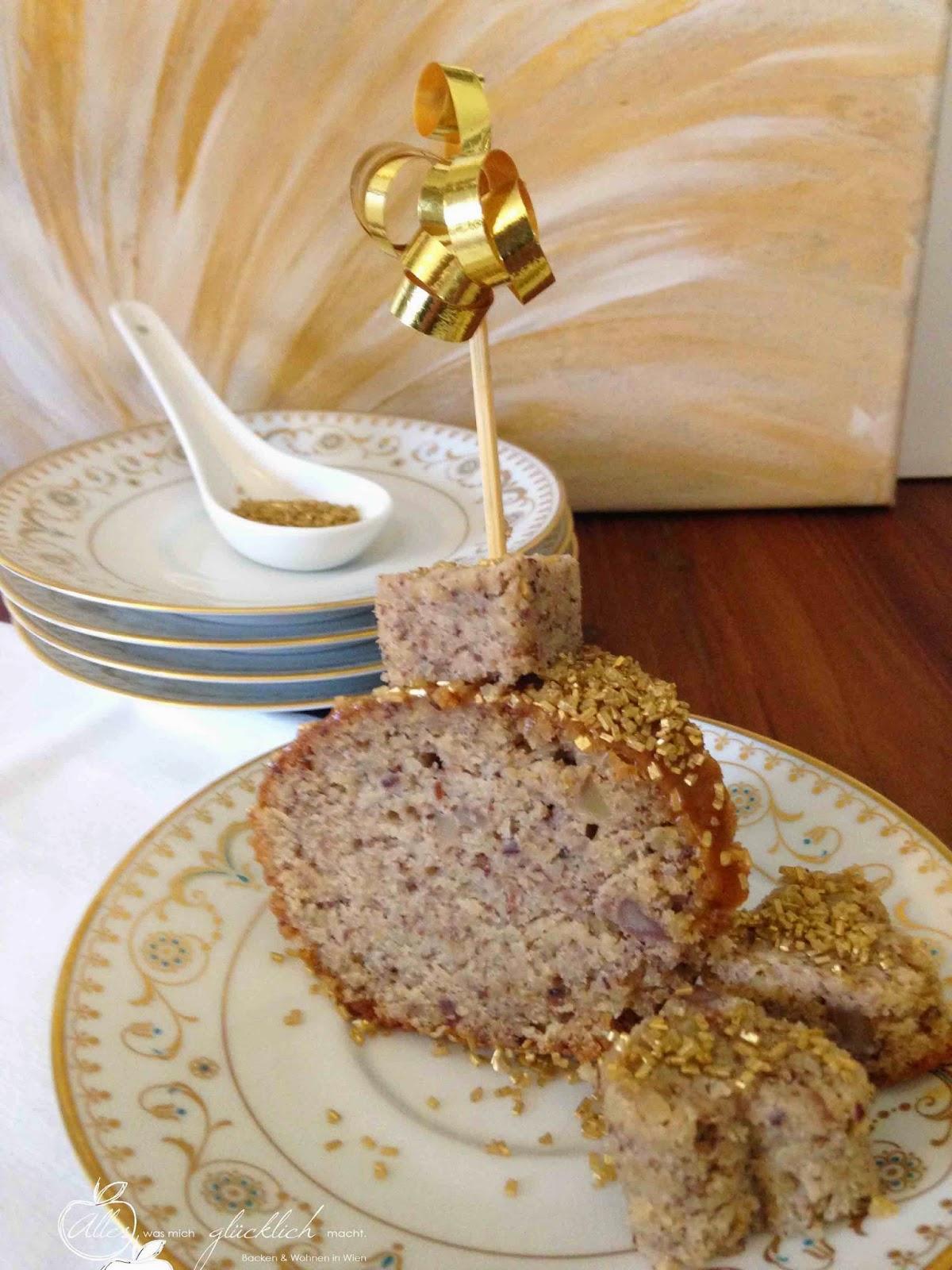 Maronikuchen mit Lebkuchen-Karamell-Glasur