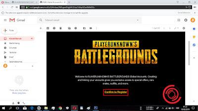 """Silakan kalian cek email dari """"noreply, PUBG Global Account Activation"""", setelah itu buka dan klik Confirm to Register"""