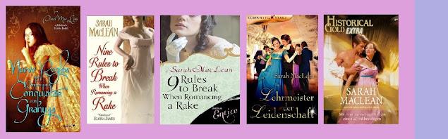 Portadas de la novela romántica histórica Nueve reglas que romper para conquistar a un granuja, de Sarah MacLean