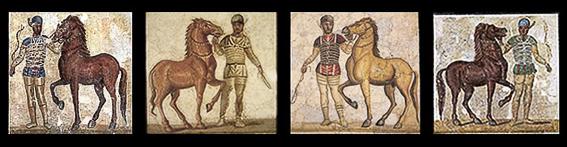Mosaico auriga de los azules, desde Villa de Baccano, Via Cassia en Roma. Circo de Roma