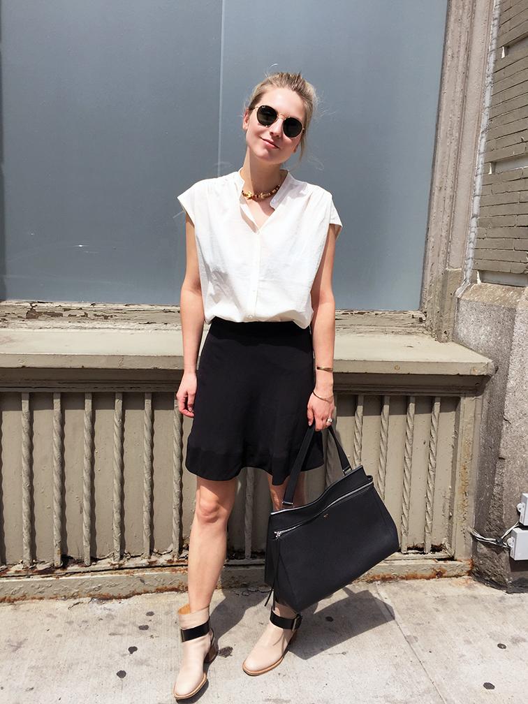 Zady Japanese gatehred blouse, Ray-Ban lennon round sunglasses, Balenciaga skirt, Chloé boots, Céline edge bag