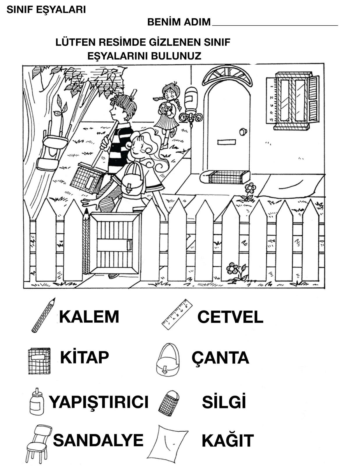 Kindergarten Turkish Language Class Sinif Esyalari