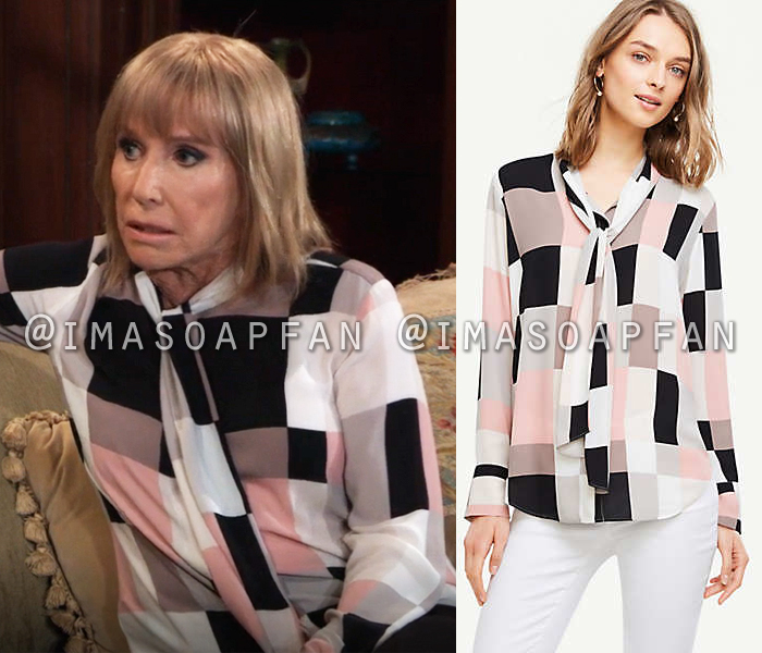 Monica Quartermaine, Leslie Charleson, Pink Black and White Tie Neck Blouse, General Hospital, GH
