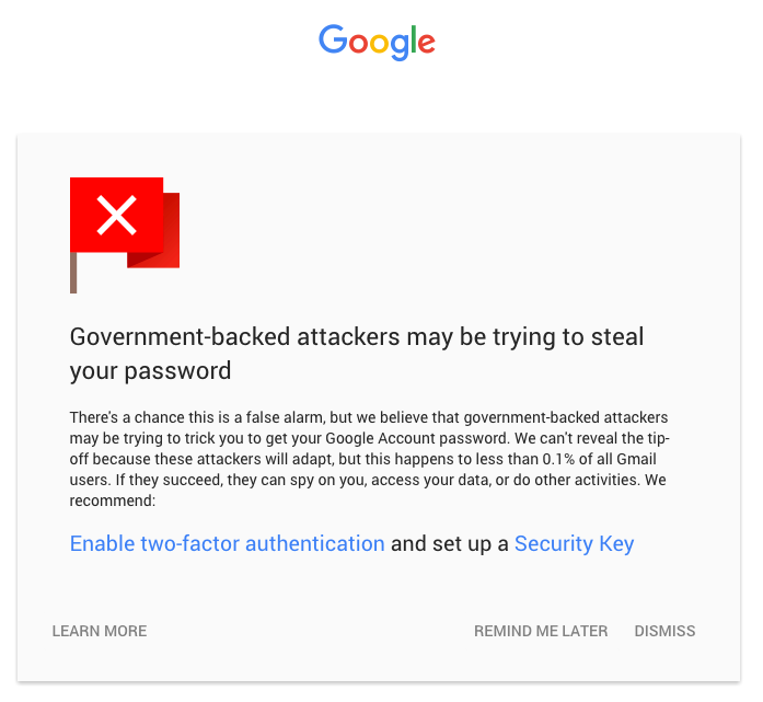 Gmail security alert