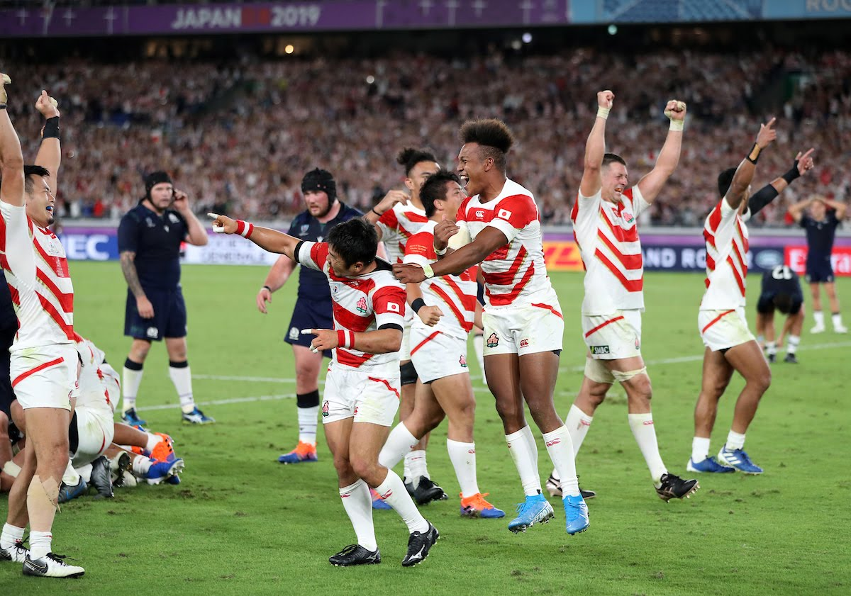 Japan players are ecstatic at full time as they celebrate a famous victory and a place in the 1/4 Finals of the Rugby World Cup but knock Scotland out of the tournament.