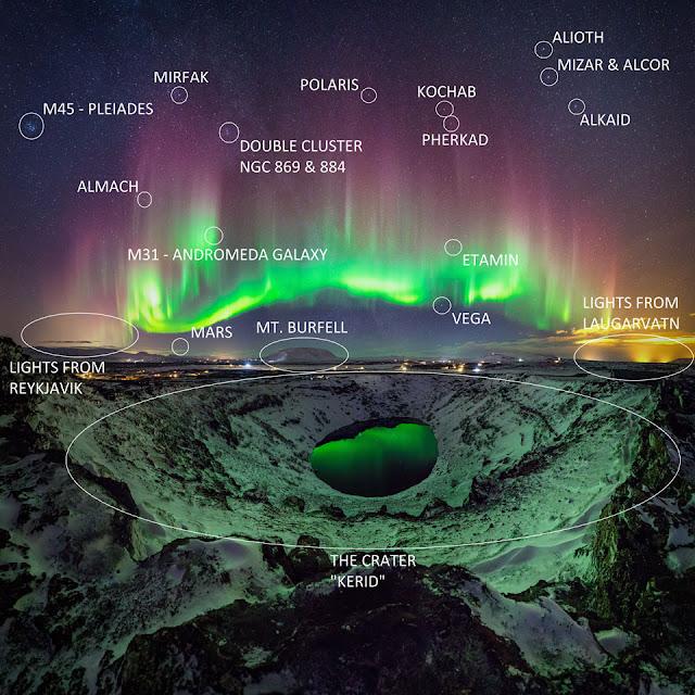 Cực quang đầy màu sắc trên bầu trời Ireland. Hình ảnh: Sigurdur William Brynjarsson. Chú thích: Sævar Helgi Bragason.