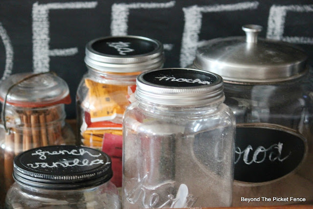 canning jars, coffee station, coffee sign, chalkboard, paint, upcycle, repurposed, old drawer, http://bec4-beyondthepicketfence.blogspot.com/2015/10/coffee-station.html
