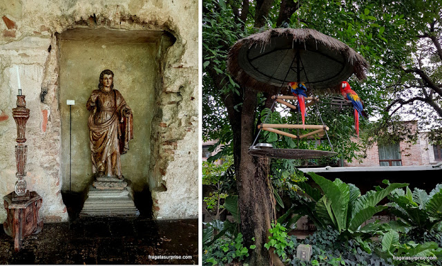 Obras de arte colonial expostas no Hotel Museu Casa Santo Domingo, Antigua, Guatemala