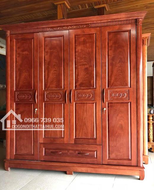 Tủ Áo Quần Gỗ (hàng đóng) - 3 buồng, 4 buồng, 5 buồng, Tủ áo quần gỗ đẹp giá rẻ tại Huế, Tu ao quan go o Hue, Đồ gỗ nội thất ở Huế