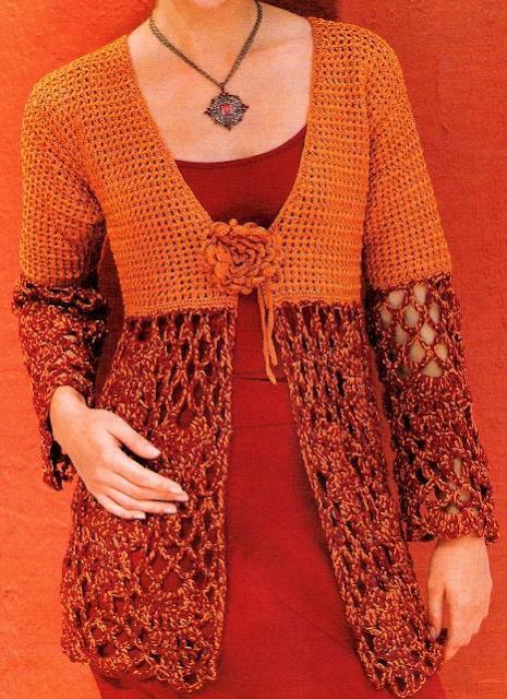 Chaqueta-Chaleco dos puntos de crochet