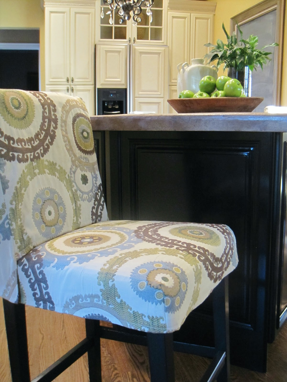What Type Of Fabric To Cover Kitchen Chairs Black Metal Outside Simple Details Barstool Slipcover Reveal