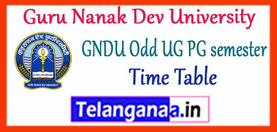 GNDU Guru Nanak Dev University  Punjab 1/3/5/7 Semester UG PG Exam Time Table 2019