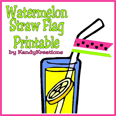 Add a little bit of extra summer fun to your drink today with this Watermelon straw tag.  This free printable is a quick and easy way to add some pizzazz to your summer picnic party, watermelon party, or lemonade fun.