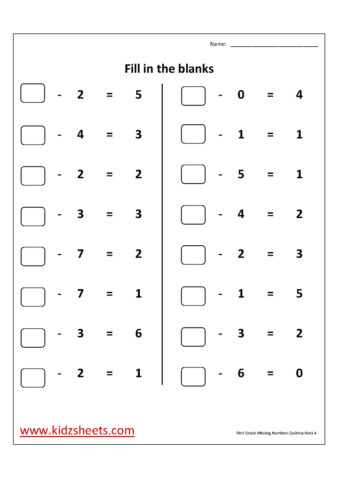 Kidz Worksheets First Grade Missing Numbers Worksheet4