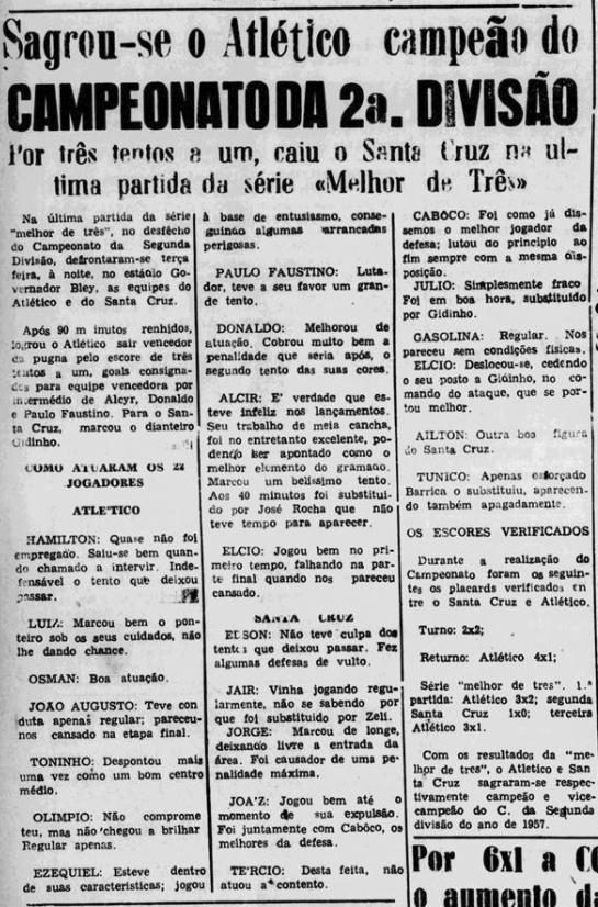 Mais tarde com decorrer da competição o Santa Cruz foi para a final contra  o Atlético de Aribiri Vila Velha 4c37f86ec92fa