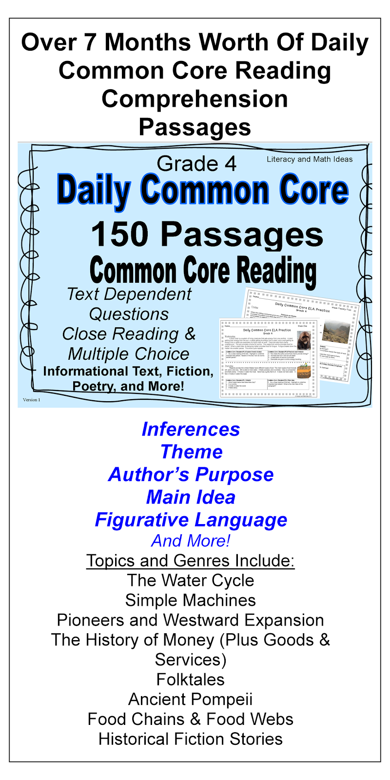 Literacy & Math Ideas 150 Grade 4 Daily Mon Core