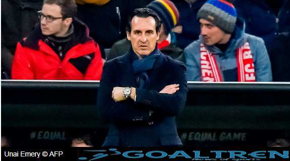 "alt=""PSG coach Unai Emery is happy with the draw of the Champions League"""