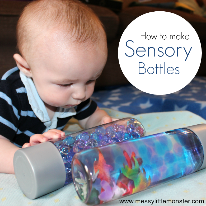 Easy homemade sensory play activities for babies - Making sensory bottles for babies.  Ocean in a bottle water bead sensory bottles for babies, toddlers or as calm down bottles. 4 month baby activity, 5 month baby activity, 6 month baby activity.ttles are for babies and toddlers. 4 month baby activity, 5 month baby activity, 6 month baby activity.