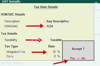 GST tax rate detail in tally