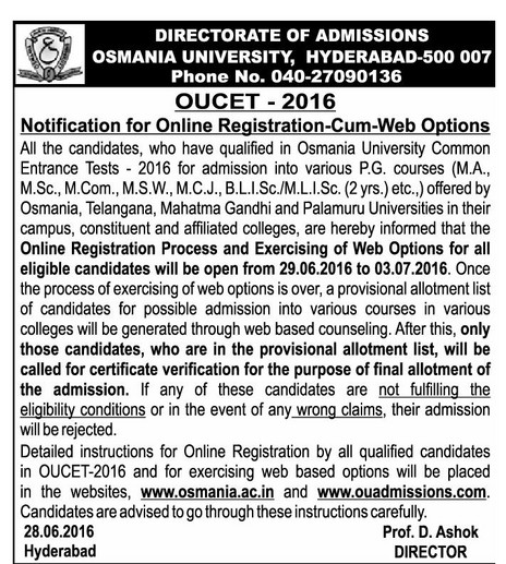 OU PGCet 2016 Web Options Counselling Dates Certificate Verification