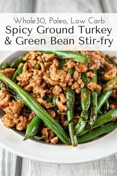 Spicy Ground Turkey And Green Bean Stir-fry