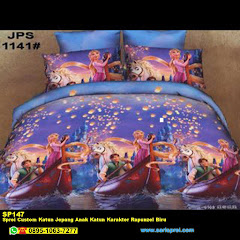 Sprei Custom Katun Jepang Anak Katun Karakter Rapunzel Biru