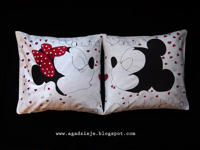 Zakochane Myszki ( malowanie na tkaninie )