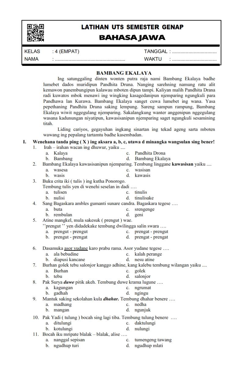 Download Soal Uts Genap Bahasa Jawa Kelas 4 Semester 2 Rief Awa Blog Download Kumpulan Soal