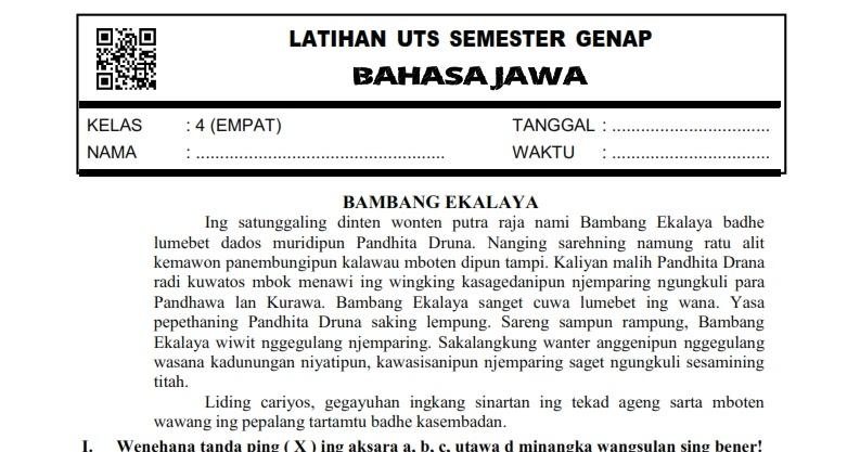 Download Soal Uts Genap Bahasa Jawa Kelas 4 Semester 2