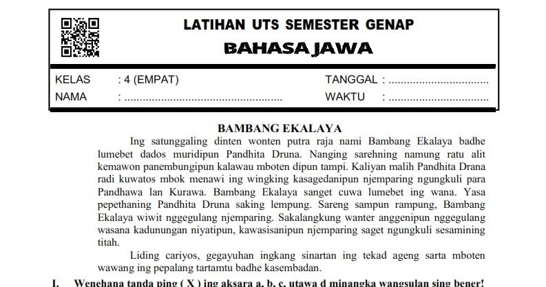 Download Soal Uts Genap Bahasa Jawa Kelas 4 Semester 2 Rief Awa