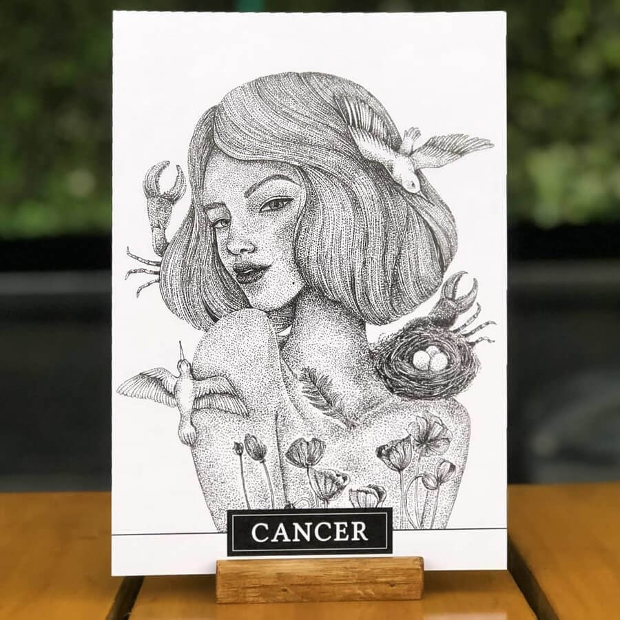 03-Cancer-Zodiac-Sayali-Horambe-Stippling-Fantasy-Art-Drawings-www-designstack-co