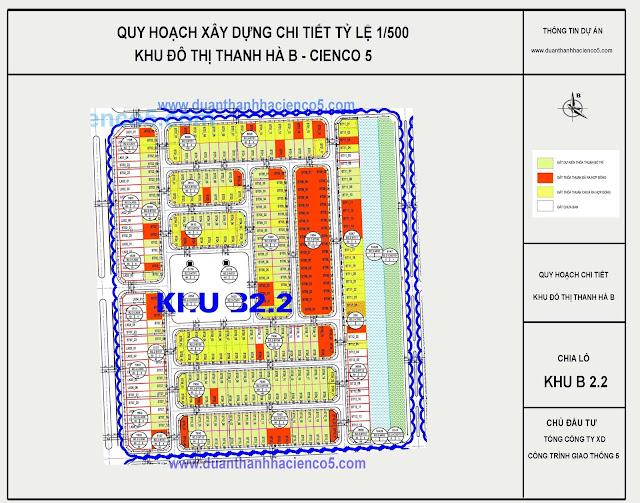 Sơ đồ khu B2.2 dự án Thanh Hà Cienco 5 Hà Đông
