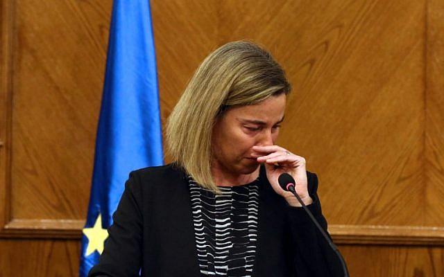 Federica Mogherini crying