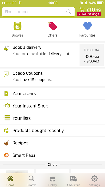 A screenshot showing a search bar, next available delivery date and other options on the Ocado app