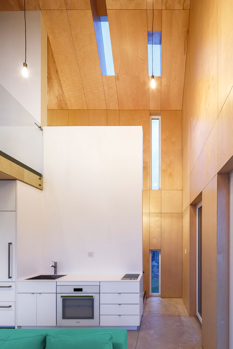A modern cabin in the form of a traditional gable by architects omar gandhi and design base 8 out of new york city located on the coast of rural cape