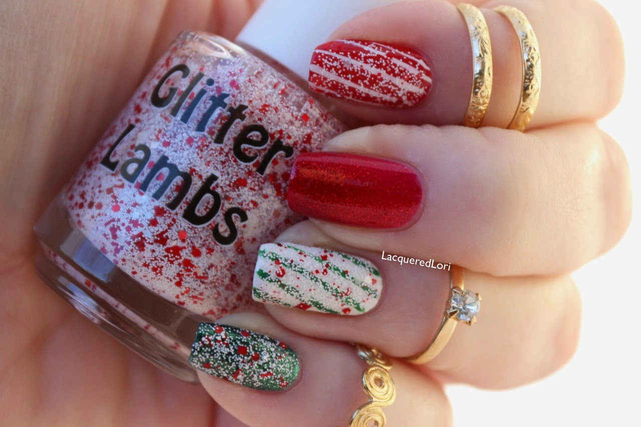 Don't Touch My Candy Cane Milkshake Glitter Lambs Nail Polish Swatched by LacqueredLori