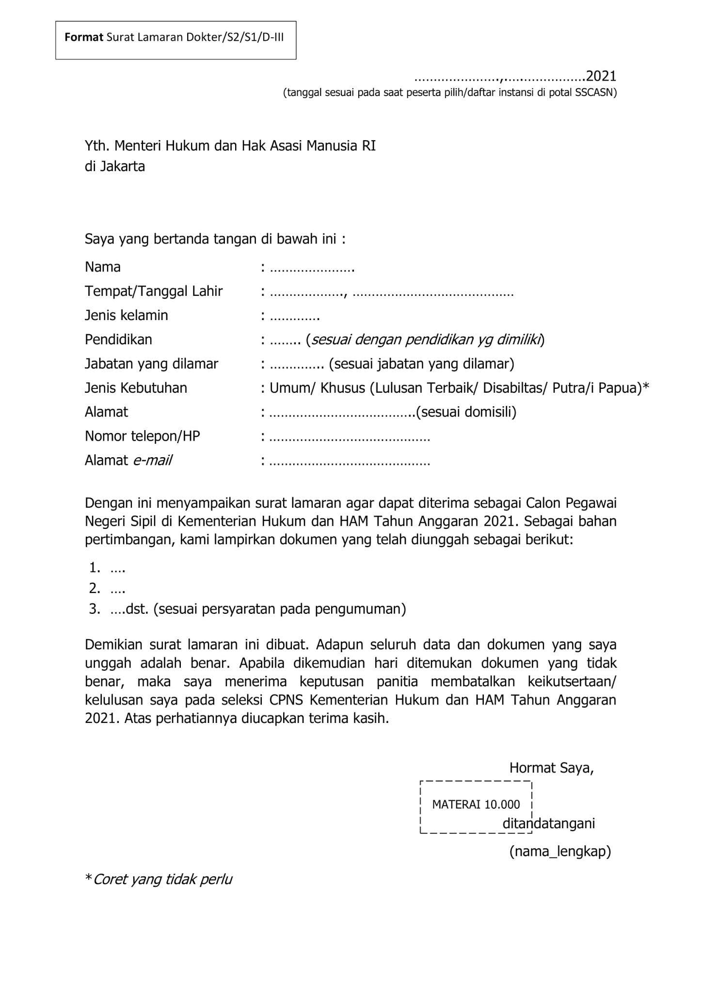 Contoh Surat lamaran CPNS Kementerian Hukum dan Hak Asasi Manusia Tahun 2021