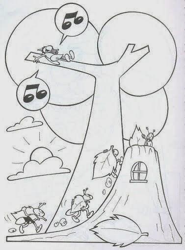 Dibujos Para Colorear Maestra De Infantil Y Primaria La Cigarra Y