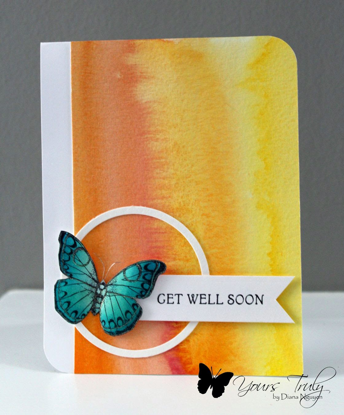 Hero Arts, butterfly, card, Diana Nguyen, watercolor background