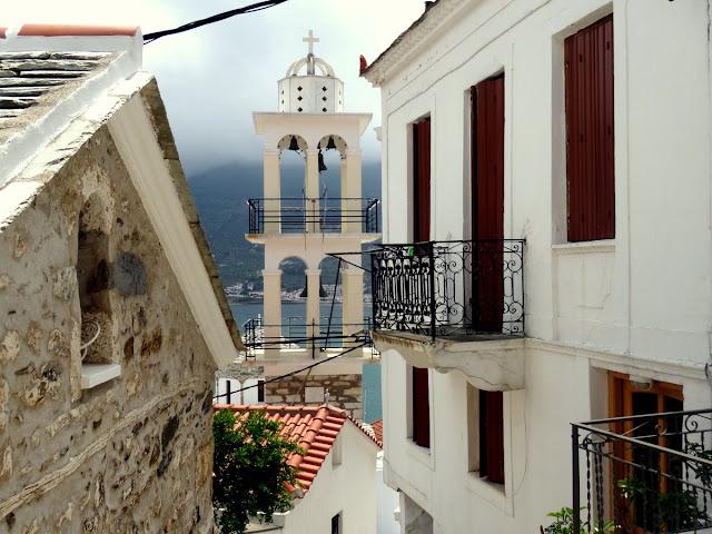 Church bell tower in Skopelos Island