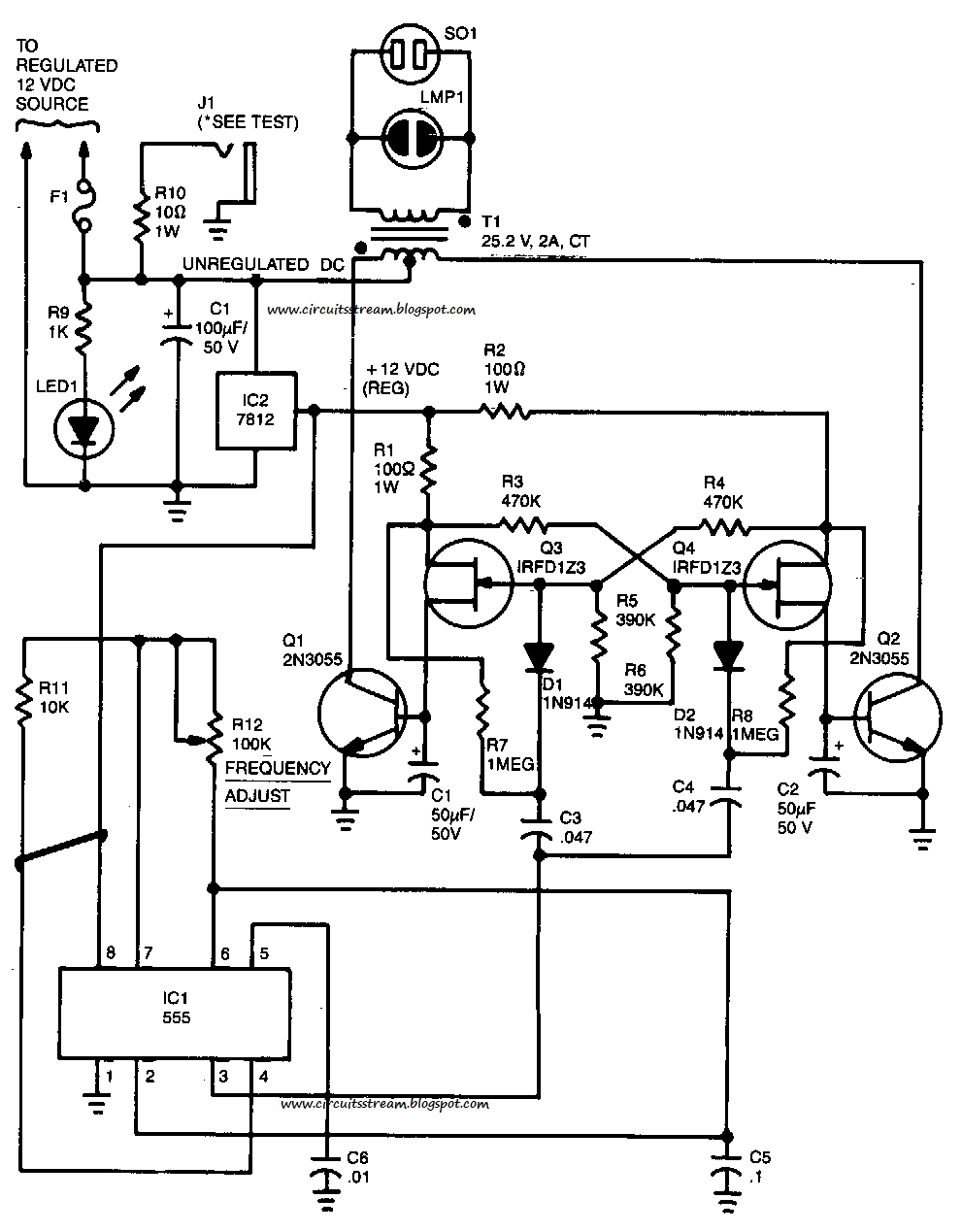 555 Dc To Ac Inverter Mos Fet Schematic, 555, Free Engine