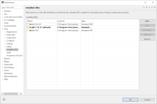 How to check if JRE or JDK installed in Eclipse - Maven Error