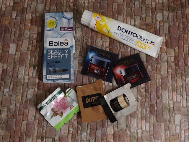 Balea - Beauty Effect Lifting Kur, Dontodent - Intensive Clear, alverde - Feuchtigkeitsmaske Wildrose Sheabutter, James Bond 007 for Woman, L'Oréal - Revitalift Tages- und Nachtcreme, Missha -  Complexion Coordinating B.B Cream
