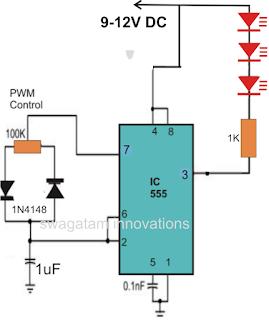 IC 555 based strobe light circuit