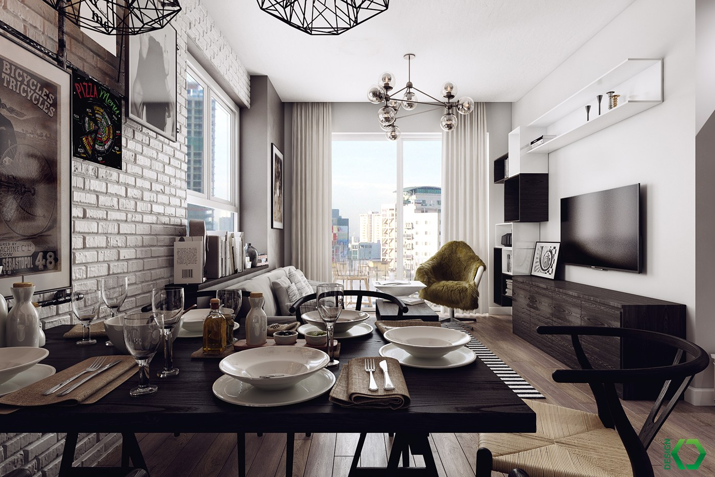 Decordemon a charming industrial apartment inspired by for Small dining room design inspiration